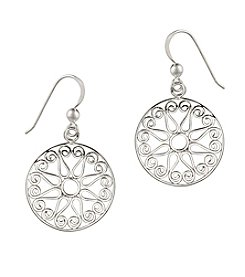 Designs by FMC Sterling Silver-Plated Round Open Wire Disc Drop Earrings