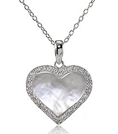 Designs by FMC Sterling Silver Mother of Pearl & Cubic Zirconia Heart Pendant Necklace