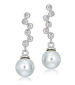 Designs by FMC Sterling Silver & Cubic Zirconia Journey Pearl Drop Earrings