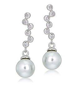 Designs by FMC Sterling Silver & Cubic Zirconia Journey Pearl Drop Earrings