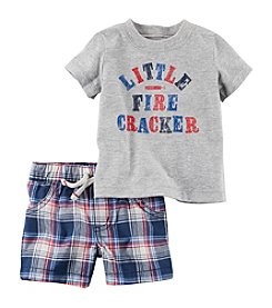 Carter's® Baby Boys 2-Piece Fire Cracker Tee And Plaid Shorts Set