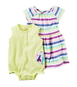 Carter's® Baby Girls' Fish Romper And Striped Dress Set