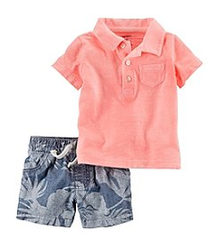 Carter's® Baby Boys 2-Piece Polo And Palm Printed Short Set