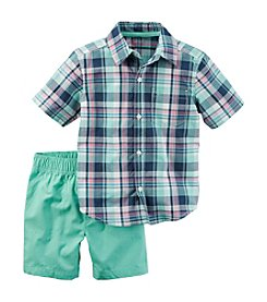 Carter's® Baby Boys' 2-Piece Plaid Shirt And Shorts Set