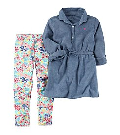 Carter's® Girls' 4-8 2-Piece Chambray Long Sleeve Turnic Top And Leggings Set