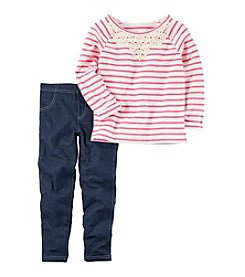 Carter's® Girls' 4-8 2-Piece Striped Terry Long Sleeve Top And Leggings Set