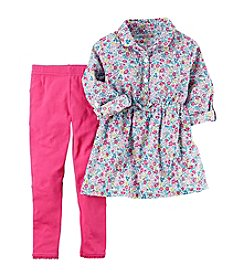 Carter's® Girls' 2T-8 2-Piece Floral Long Sleeve Turnic Top And Leggings Set
