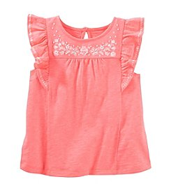 OshKosh B'Gosh® Girls' 2T-8 Embroidered Flutter Sleeve Top
