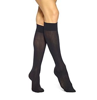 HUE® Tipped Net Knee High Socks