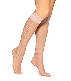 HUE® Dot Top Ruffled Knee High Socks