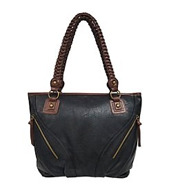 GAL Pebble Grained With Contrast Trim Braided Tote