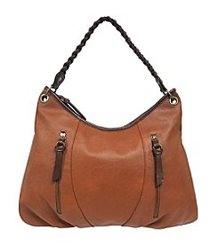 GAL Pebble Grained With Contrast Trim T/z Hobo With Braid Handle