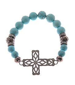 L&J Accessories Turqouise Bead Cross Stretch Bracelet