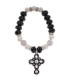 L&J Accessories Believe In Glass Pave Cross Charm Stretch Bracelet