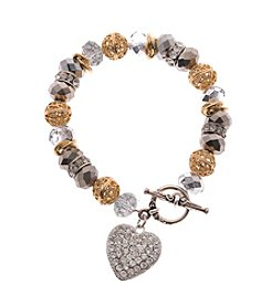 L&J Accessories Believe In Glass Heart Charm Bracelet