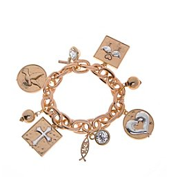 L&J Accessories Believe In  Chain Link Charm Stretch Bracelet