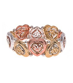 L&J Accessories Believe In Scroll Heart Links Stretch Bracelet