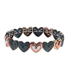 L&J Accessories Believe In Patina Heart Links Stretch Bracelet