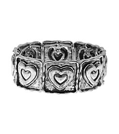 L&J Accessories Believe In Heart Links Stretch Bracelet