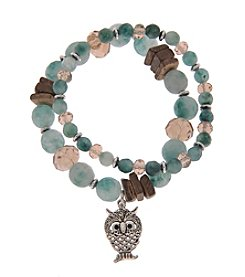 L&J Accessories Natural Elements Double Row Bracelet With Genuine Stone Glass Owl Charm