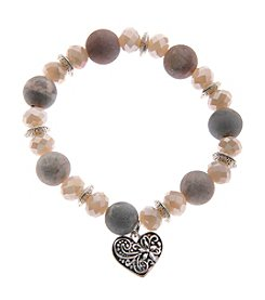 L&J Accessories Natural Elements Genuine Stone Beads With Heart Charm