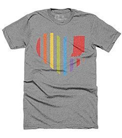 United State of Indiana Men's Rainbow Heart Flag Tee