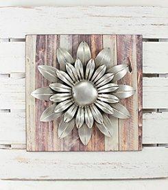 Fetco® Plank Wood Metal Flower Wall Art