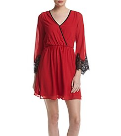 A. Byer Lace Sleeve Wrap Dress