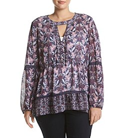 Skylar & Jade™ Plus Size Floral Peasant Top