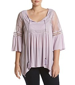 Skylar & Jade™ Plus Size Lace Trim Yoke Top