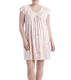 Miss Elaine® Plus Size Short Floral Sleep Gown