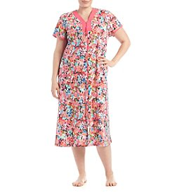 Miss Elaine® Plus Size Long Floral Robe