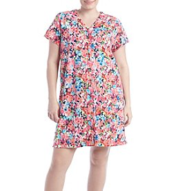 Miss Elaine® Plus Size Short Floral Robe
