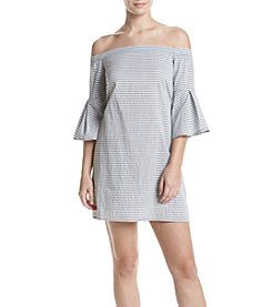 Be Bop Pinstripe Off-Shoulder Dress