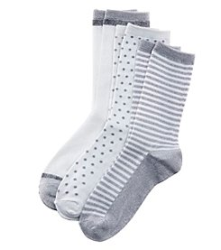 Cuddl Duds® 3-Pack Feedstripe Diamond Socks