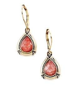 Napier® Goldtone Teardrop Faceted Stone Earrings