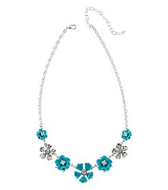 Napier® Silvertone Flower Frontal Necklace