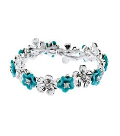 Napier® Silvertone Flower Stretch Bracelet