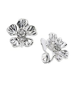 Napier® Simulated Crystal EZ Comfort Clip Flower Button Earrings