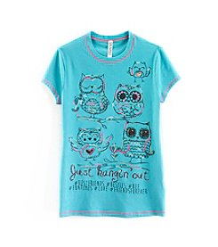 Beautees Girls' 7-16 Just Hanging Out Owl Short Sleeve Tee