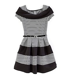 Beautees Girls' 7-16 Marilyn Striped Short Sleeve Dress