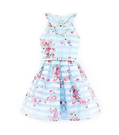 Beautees Girls' 7-16 Floral Striped Halter Dress