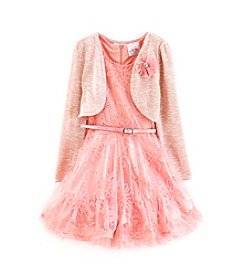 Beautees Girls' 4-6X Dress With Cardigan And Belt