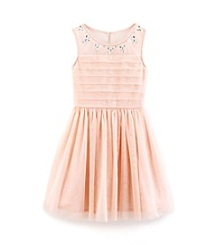 Sequin Hearts® Girls' 7-16 Illusion Neck Dress With Rhinestone Belt