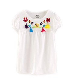 Mix & Match Girls' 4-7 Embroidered Crew Neck Tee