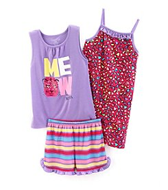Komar Kids® Baby Girls' 3-Piece Meow Sleepwear Set