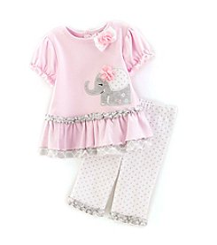 Cuddle Bear® Baby Girls' 2-Piece Elephant Dot Capri Set