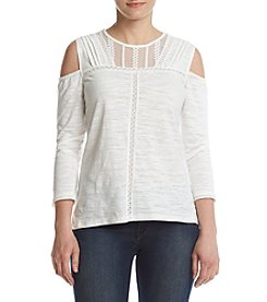 Democracy Cold Shoulder Yoke Top