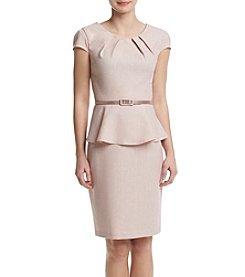 Connected® Peplum Belted Sheath Dress