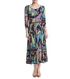 Nina Leonard® Paisley Matte Jersey Dress